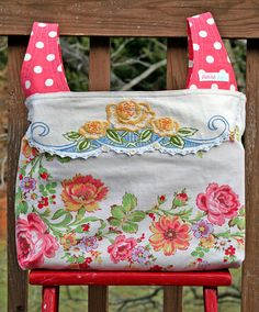 Shabby Vintage Repurposed Tablecloth and Doily .. Flea Market or Grocery Shopping Market Tote Bag Darn it is sold