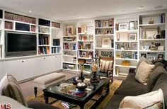 Den. love the built-in book shelves, not so keen on the built ins around tv