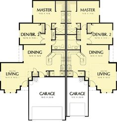 Duplex with Slightly Smaller Second Unit - 69391AM | 1st Floor Master Suite, CAD Available, PDF | Architectural Designs