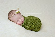 SET Green Baby Cocoon and Dark Brown and Green Cheesecloth Wraps | Beautiful Photo Props