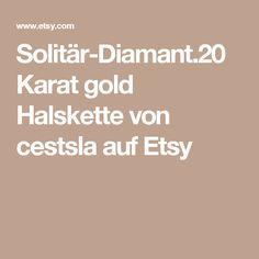 Solitär-Diamant.20 Karat gold Halskette von cestsla auf Etsy