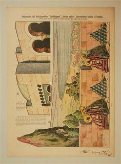 """Dekoration till dockkomedien """"Guldskeppet"""", första akten: Guvernörens palats i Panama.  In: Allers Familj-Journal N:r. 43 23.10. 1928"""