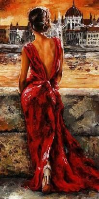 """Lady in Red 1934"" by Emerico Toth"
