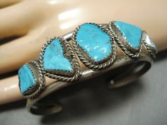 Vintage Navajo Persin Turquoise Argent Sterling With A Long Standing Reputation Bijoux Fantaisie Breloques, Bracelets Breloques