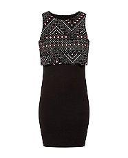 Cameo Rose Black Contrast Aztec Print Layered Dress  | New Look