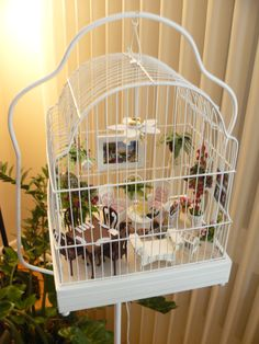 Patty's porch in a bird cage ~ My customer, Patty, sent me a message asking if I could make a small birdhouse to hang on a wall - or in her case, the bars of this bird cage. It took two designs to get it the right depth and size, but in the end, she was very happy with it. I am just so impressed with Patty's project. It's a unique idea, and it turned out beautifully. miniaturesfromavalon