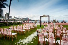 Pink Waikiki Beach Wedding with Flower Pedals Beach Resorts, Oahu, Hawaii Wedding, Hotel Wedding, Destination Wedding, Waikiki Beach, Trip Advisor, Hawaiian, Wedding