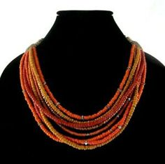 "16-20"" Chico's Orange Tribal Beaded Multi-Strand Necklace Rhinestone Enamel Boho Tribal Fashion, Boho Fashion, Fashion Jewelry, Women Jewelry, Ring Bracelet, Ring Earrings, Multi Strand Necklace, Beaded Necklace, Southwestern Jewelry"