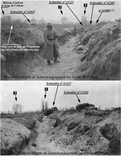 WWI, 16 April 1917,Position of tanks,  Nivelle Offensive. -http://images.mesdiscussions.net/pages14-18/mesimages/2548/Trancheeducapitole01.jpg