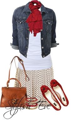 Denim jacket, white top, red scarf, printed skirt
