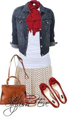 Denim jacket, white top, red scarf, printed skirt