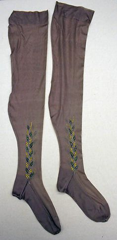 The Met - stockings, 1920s, French, silk with clocks