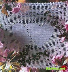 Heart filet crochet pattern diagram, click on image pattern to enlarge.