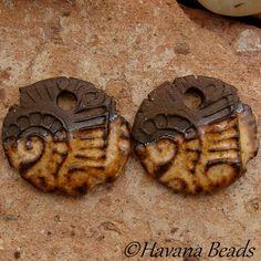 GOLDENROD RUSTIC DANGLES - 2 Handmade Ceramic Earring Pair - #16