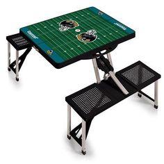 Jacksonville Jaguars Portable Picnic Table w/Digital Print - Black