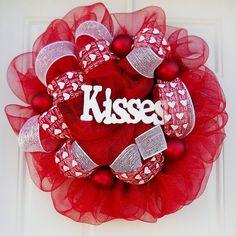 Red Mesh Valentine Kiss Wreath