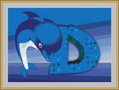 D Is For Dolphin Cross Stitch Pattern