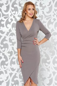 StarShinerS grey office wrap around dress from elastic fabric with tented cut with v-neckline Grey Office, Wrap Around Dress, Gray Dress, Neckline, October 19, Fashion Outfits, Formal Dresses, Sexy, Sleeves