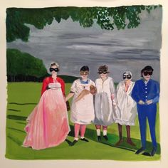 Arbus Girls Standing on Lawns, 2013 gouache on paper 9 1/2 x 9 1/2