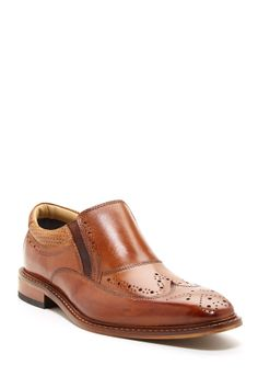 Rentere Wingtip Loafer in tan by Giorgio Brutini $95 - $70 @HauteLook. - Almond toe with broguing - Wingtip vamp - Topstitching and broguing throughout - Slip-on - Dual side goring - Padded opening - Stitch welt detail - Leather upper, manmade sole