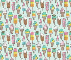 Ice Cream on Mint fabric by caja_design on Spoonflower - custom fabric