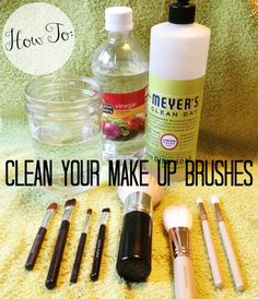 How to clean your make-up brushes! 1 cup warm water, 1 tbsp vinegar, 1 tbsp dish soap. Swirl, tap, rinse, dry!