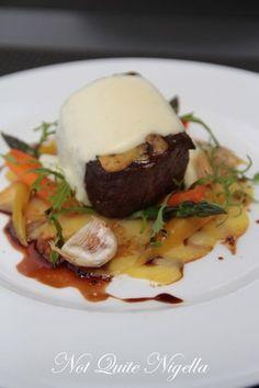 Dijon roasted Angus fillet, truffled parmesan foam, potato carpaccio