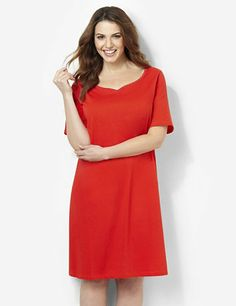 An essential sleep style for every day of the week, this solid sleepshirt comes in soft, cozy fabric for complete relaxation. Beautiful sweetheart neckline has a lovely scalloped trim in a contrast color. Complete with short sleeves and side slits at the hem. For your comfort, Catherines sleepwear has been made specifically for the plus size figure.  catherines.com