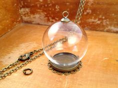 1 ~ Small Clear Glass Globe Necklace Kit Lace Round Base Pendant DIY Antique Bronze Top Terrarium Bottle  Charm Apothecary Jewelry Supplies