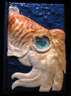 Cuttlefish Book by ~sunhawk Custom Sketchbook, Cuttlefish, Clay Tiles, Blank Book, Journal Covers, Home Art, Polymer Clay, Artisan, Rainbow