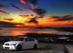 BMW E46 M3 white sunset