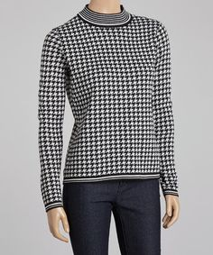 Ivory & Black Houndstooth Wool-Blend Sweater - Women #zulily #zulilyfinds