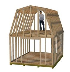 These tall gambrel truss plans are perfect for building a 2 story shed. They provide headroom in the loft. Shed Building Plans, Diy Shed Plans, Shed House Plans, Shed Plans 12x16, Petits Hangars, Shed With Loft, Cheap Sheds, Wood Storage Sheds, Wooden Sheds
