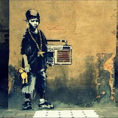 "Banksy - Little ""Wannabe Gangsta"" Kid with Teddy Bear - so real, so true <3"