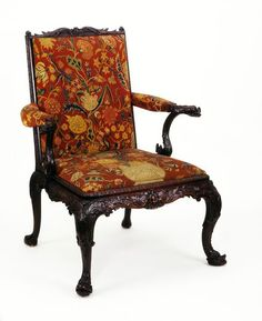 "1760 British Armchair at the Victoria and Albert Museum, London - From the curators' comments: ""Many versions of the upholstered drawing-room armchair were made in the mid-18th century....Thomas Chippendale (1718-1779) recommended tapestry or needlework for drawing-room chairs. The embroidery on this chair probably dates from the 1740s."""