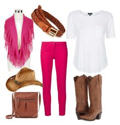 Cowgirl by mag11rich on Polyvore featuring polyvore, fashion, style, Topshop, Boutique Moschino, Dan Post, Mixit, LOFT and clothing