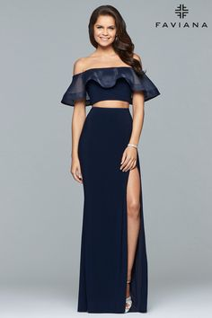 8657bb219a83 Faviana S10070. Navy Blue Prom DressesProm Dresses Two PieceFaviana ...