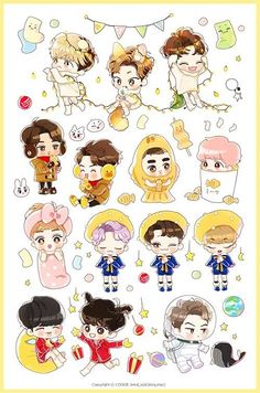 exo as tts? Exo Stickers, Cute Stickers, Kpop Exo, Chibi Exo, Fan Art, Exo Fanart, Exo Cartoon, Exo Anime, Diy Y Manualidades