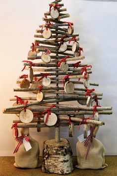 Image of Silver Birch & Poplar Timber Christmas Decorations  Shelley Panton Melbourne