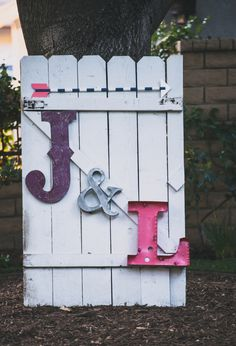 large metal and wood monogram