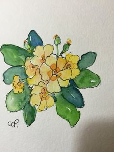 Primrose Watercolor Card / Hand Painted Watercolor Card  I have primroses starting to unfold in my flower beds. They are such a welcome sight.  This