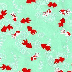 Papier japonais / Sérigraphie poisson carpe rouge sur fond vert d'eau - Adeline Klam