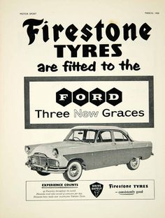 1959 Ad Ford Zodiac Firestone Tyres Tires Classic Car Automobile Parts Auto - My old classic car collection Retro Advertising, Vintage Advertisements, Vintage Ads, Ford Zephyr, Firestone Tires, First Time Driver, Best Muscle Cars, Ford Classic Cars, Car Images
