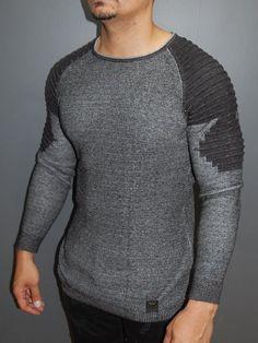 R&R Men Stylish 2 Tone Ribbed Arm Crew Neck Sweater - Dark Gray