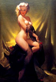 """""""Golden Beauty"""" by Gil Elvgren 1957"""