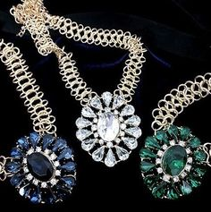 Hot Vintage Gold Plated Chunky Chain Crystal Rhinestone Pendants Bib Choker Statement Necklace Fashion Jewelry For Women 2013 $3.98