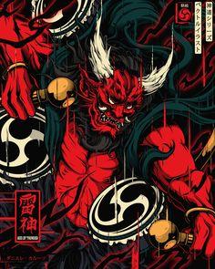 Shinto Gods on Behance Japanese Art Modern, Japanese Artwork, Japanese Tattoo Art, Japanese Tattoo Designs, Traditional Japanese, Raijin Tattoo, Susanoo Naruto, Samurai Wallpaper, Japon Illustration