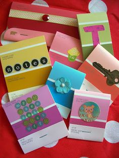 WhiMSy love: Paint Sample Notebook Tutorial Adorable matchbook notebooks Maybe geocaching swag?