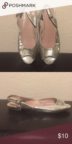 Silver flat sandals Faith brand silver snake skin look peep toe flat from the U.K. Leather inside!! Shoes Flats & Loafers