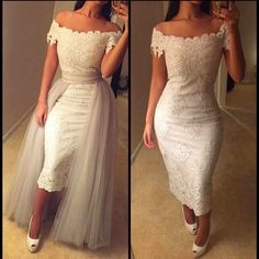 Hot Arabic Dubai Lace Evening Dress 2016 Off Shoulder Lace Appliques Prom Dress with Detachable Skirt robe de soiree 2 Pieces Party Gowns